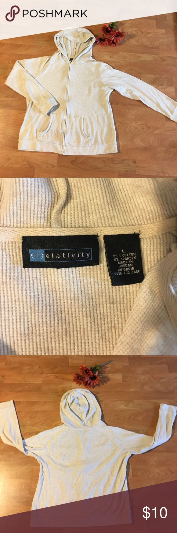 Hooded sweater/sweatshirt camel material Very soft light weight zip up...great for this time of year! Tag says Large more like a medium women's Relativity Tops Sweatshirts & Hoodies