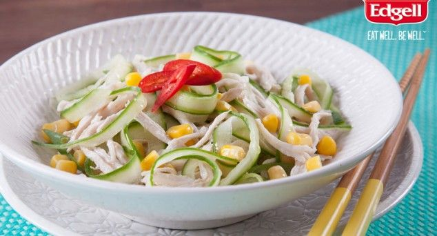 This Spicy Cold Chicken Salad from One Bite More is about to become your new best friend.  #summersalads #lunch #quickcooking