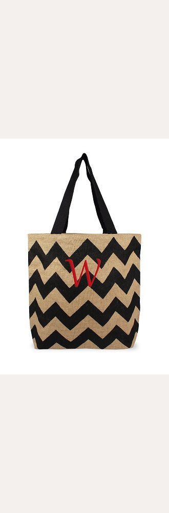 DB Exclusive Personalized Chevron Jute Tote Bag - Black
