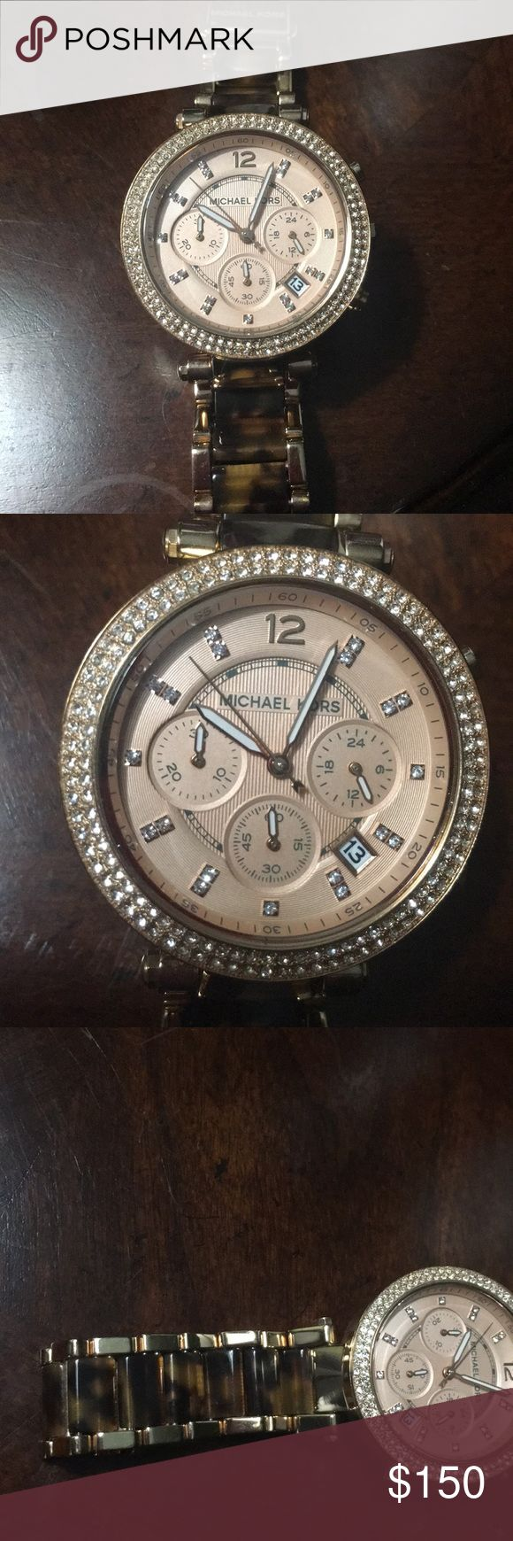 MK-MICHAEL KORS ROSE GOLD AND CRYSTAL WATCH MICHAEL KORS- ROSE GOLD TORTOISE SHELL WATCH WITH SPARKLING CRYSTALS FOR EACH HOUR AND AROUND THE FACE OF THE CLOCK. ABSOLUTELY STUNNING! Needs Battery. Retails for $250, don't miss this DEAL for only $150.00. DONT MISS THIS DEAL. . Michael Kors Other