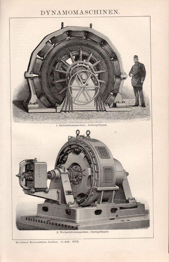1898 Electric Generators Illustration Antique Print by Craftissimo