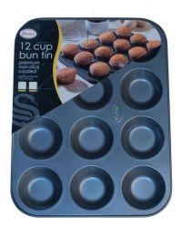 £1.99 - Swan Premium Non-Stick 12 Cup Bun Tin  approx overall size: 31.5 x 24 x 1cm  Dishwasher Safe