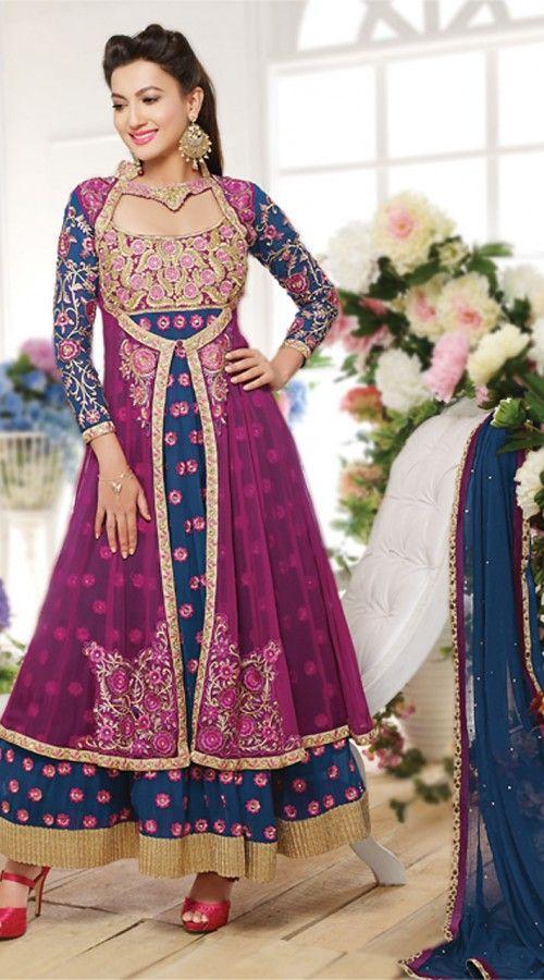Gauhar Khan In Blue And Purple Anarkali Suit BR150549