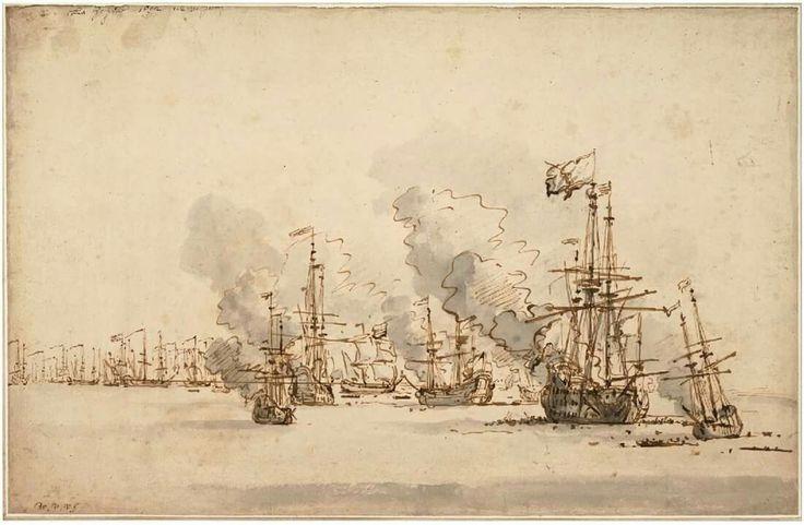 The Sea Battle at la Hogue, 1701 Willem van de Velde the Younger