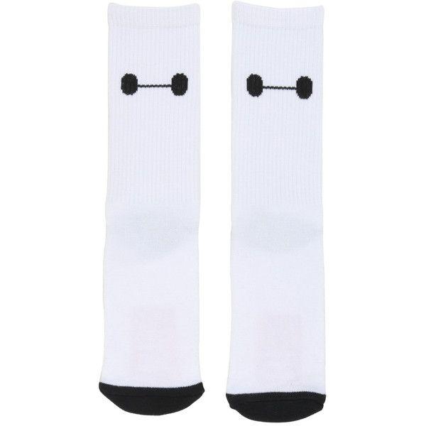 Disney Big Hero 6 Baymax Crew Socks (£3.92) ❤ liked on Polyvore featuring intimates, hosiery, socks, multi, disney socks, disney, crew socks, black and white socks and crew cut socks