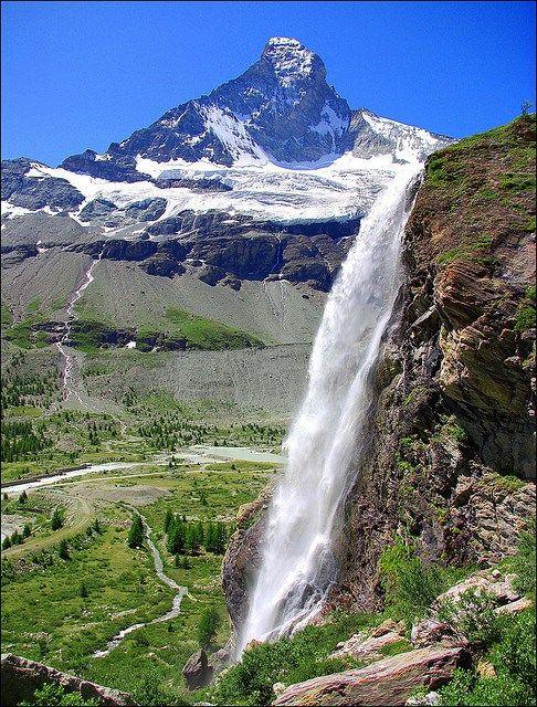 The Matterhorn seen from Arbenbach waterfall, Valais, Switzerland