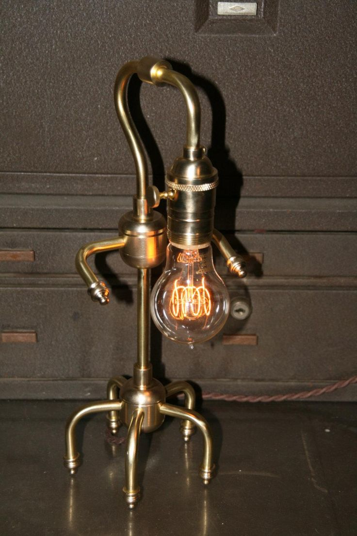Just Custom Lighting   Listings View Brass Table Lamp With Vintage Style  Cloth Covered Cord.