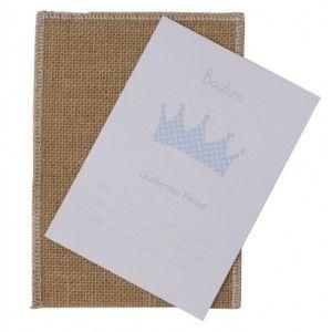 Invitación bautizo sobre saco personalizada