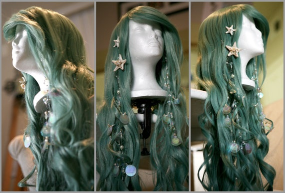 SEAFOAM MERMAID WIG: Couture, Original Mermaid-Inspired Wig designed by Traci Hines, Includes Your Choice of 2 Grotto Hair Accessories. $250.00, via Etsy.
