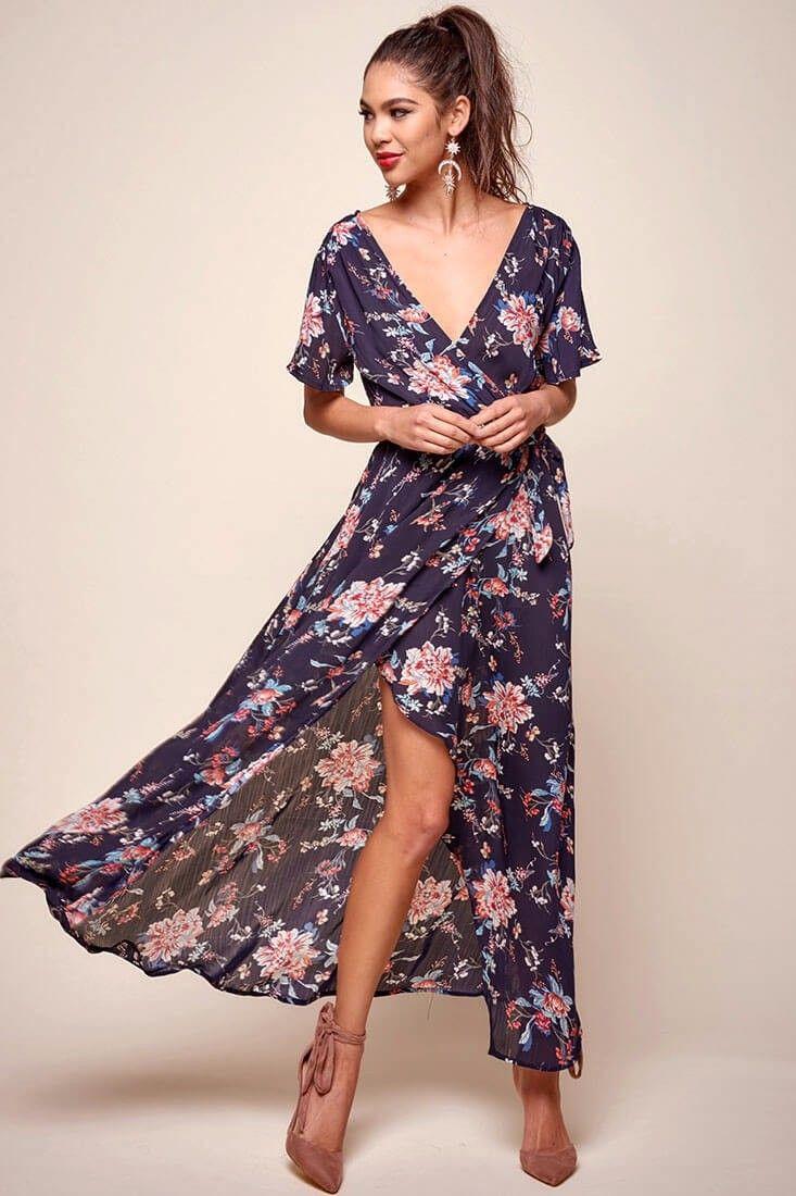 3828c3f58076 Cheri Floral Wrap Maxi Dress Navy in 2019 | clothes | Maxi wrap ...