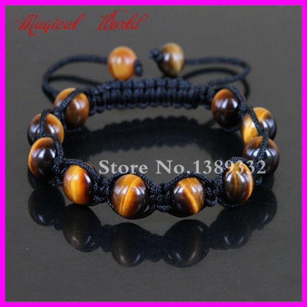 Природа тигровый глаз полудрагоценных камней бусины макраме браслет ручной работы плетение регулируемый браслет мужской браслет