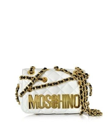 WHITE QUILTED NAPPA LEATHER SHOULDER BAG W/GOLDEN LOGO AND CHAIN STRAP MOSCHINO