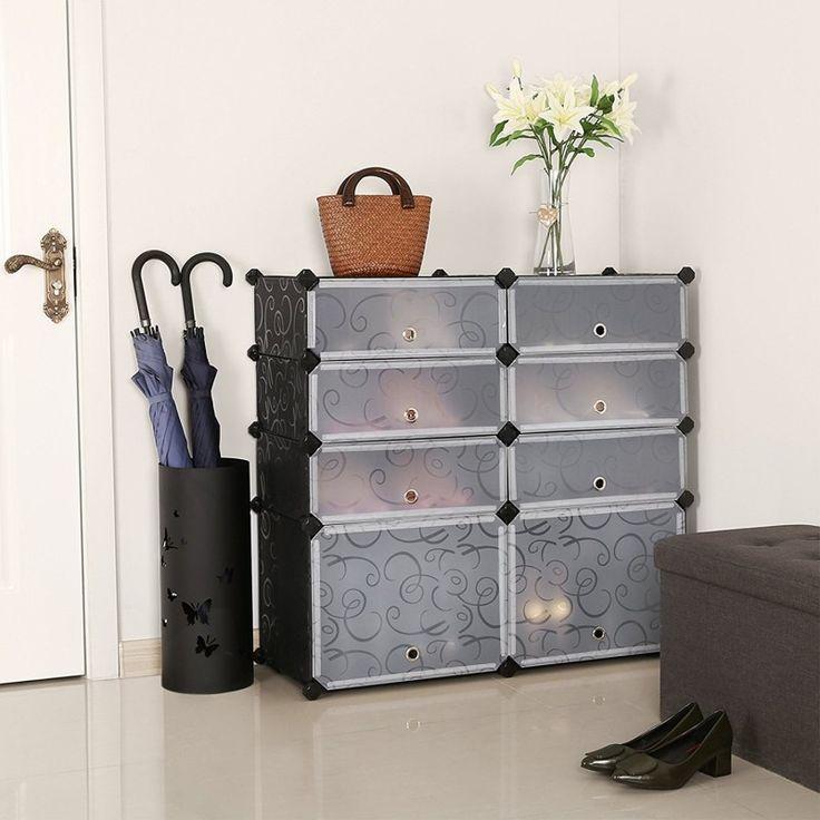 SONGMICS #DIY #Shoe #Rack #Plastic #Shoe #Storage #Organizer #Cabinet with Doors Black ULPC25H