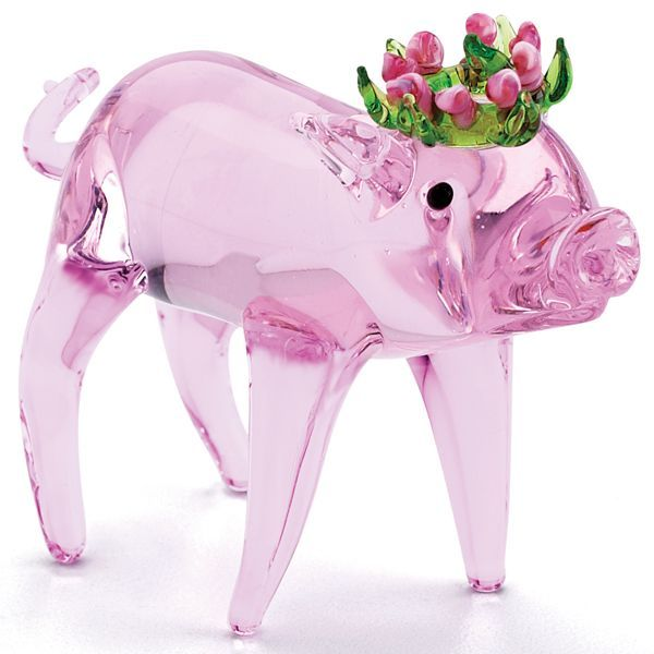 Rosie Queen Pig Art Glass Figurine By Lenox