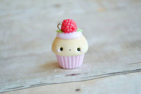 Kawaii Raspberry Cupcake  Charm Polymer Clay by TheClayCroissant