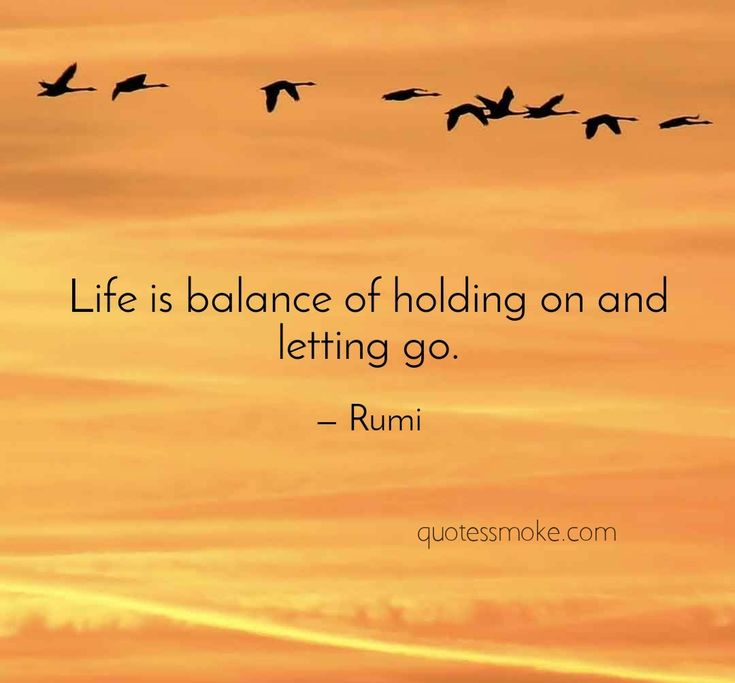 Life is balance of holding on and letting go. -Rumi