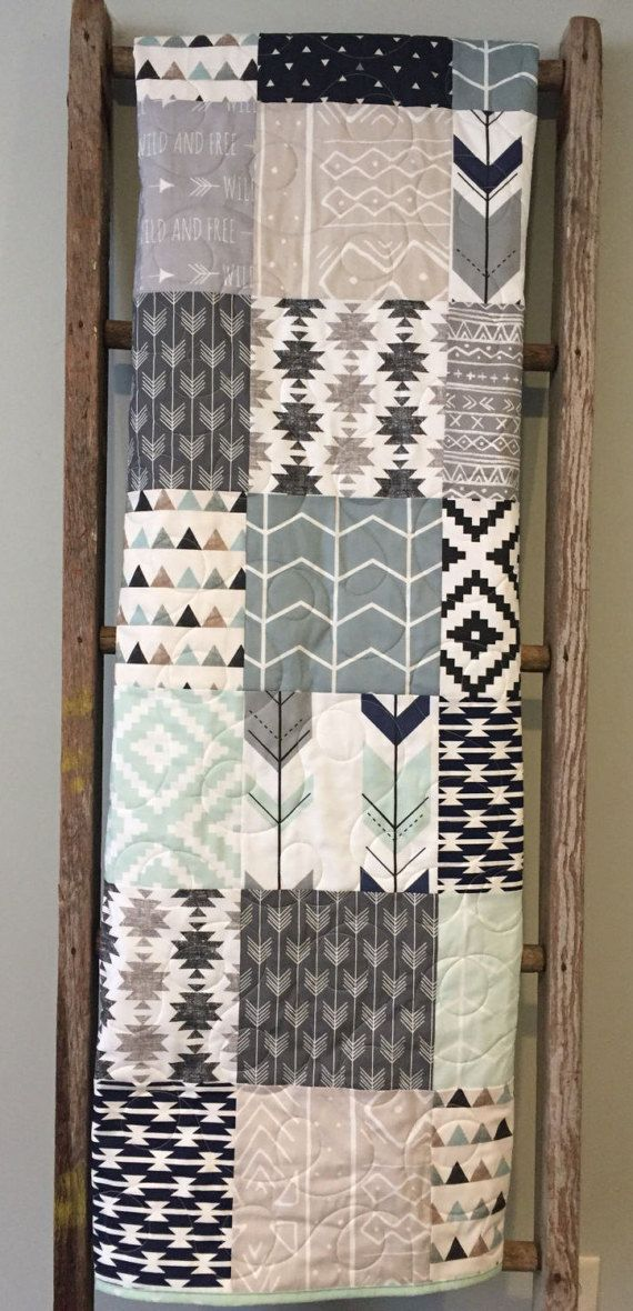 Tribal Baby Quilt, Baby Boy Bedding, Aztec Mudcloth Baby Quilt, Neutral Baby Quilt, Aztec Nursery, Tribal Crib Bedding, Navy Gray Beige Mint This modern tribal baby quilt was inspired by a recent customer request. Featuring tribal, mud cloth and geometric prints in navy, gray,