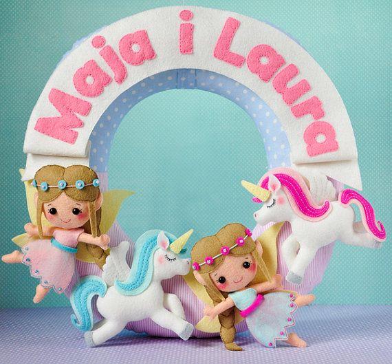 Personalized name garland / wreath, felt, elfs and unicorns, fairy wreath, fairy tale , wall decor, baby, nursery decor, baby shower gift