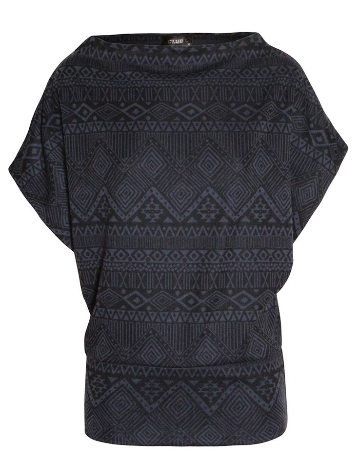 Aztec Print Batwing Top in Black £ 4.95 #chiarafashion