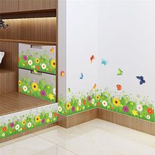 spring colorful flower grass butterfly Clover Skirting Line Flora diy home decal wall sticker Furniture kitchen wedding mural(China (Mainland))
