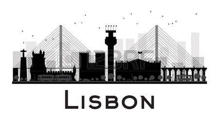 Horizonte de la ciudad de Lisboa negro y blanco de la silueta. Ilustración del vector. concepto de plano simple para la presentación turismo, bandera, cartel o página web. el concepto de viaje de negocios. Paisaje urbano con famosos