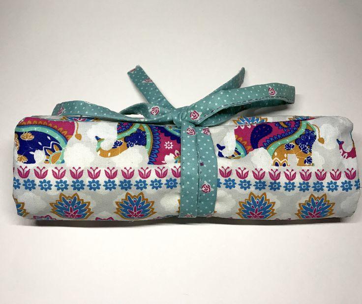 Elephant Makeup Brush Roll Bag by HandmadeByHannaRose on Etsy https://www.etsy.com/uk/listing/534288073/elephant-makeup-brush-roll-bag