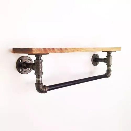 perchero de pared madera reciclada ganchos
