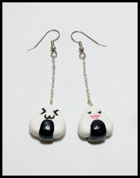 Onigiri Earrings :3 #Fimo