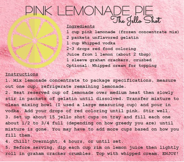 Original Pink Lemonade Pie and the shot it inspired!