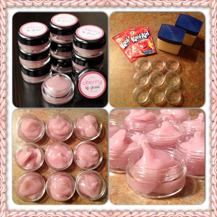 Make your own lipgloss. This worked great! I did it with my youngest sister, and she loved it!! Ingredients: 1 jar petroleum jelly, 1 package koolaid mix(your choice). Heat petroleum jelly in microwave until its liquid, then mix in koolaid, and pour into the container to let sit and stiffen. It smells great!