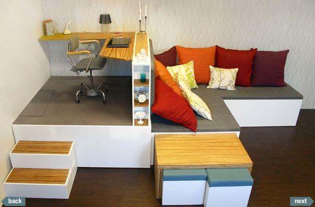 Estrade pour un bureau avec lit escamotable