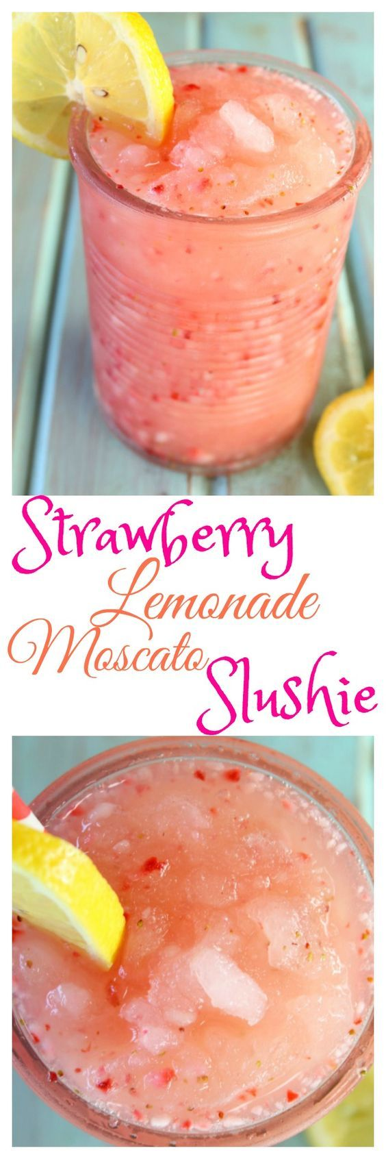 Strawberry Lemonade Moscato Slushie Recipe is a delicious cocktail for summer parties and get togethers. From MissintheKitchen.com