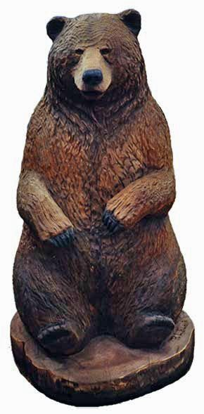 Large carved wooden Bear statues in wood sculpture, woodcarvings by R. Carved bears for outdoor sculpture, garden art, or home decoration.
