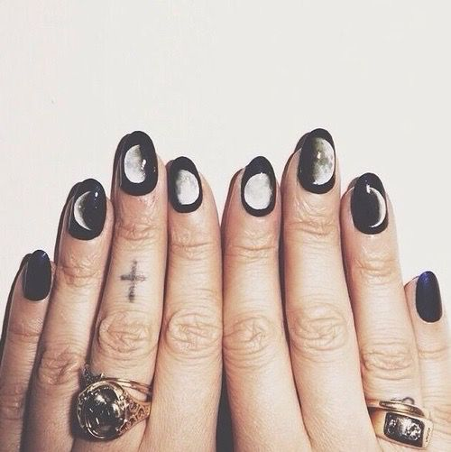 beautiful, black, cute, grunge, hand, idk, moon, nails, pale, ring ...