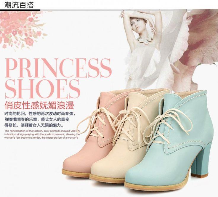 2017 мода осень весна женская обувь сапоги на высоких каблуках толстый каблук ботильоны для женщин зашнуровать ботинки женщина дамы сапоги купить на AliExpress
