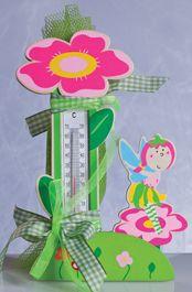 Μπομπονιέρα με Ξύλινο  Θερμόμετρο