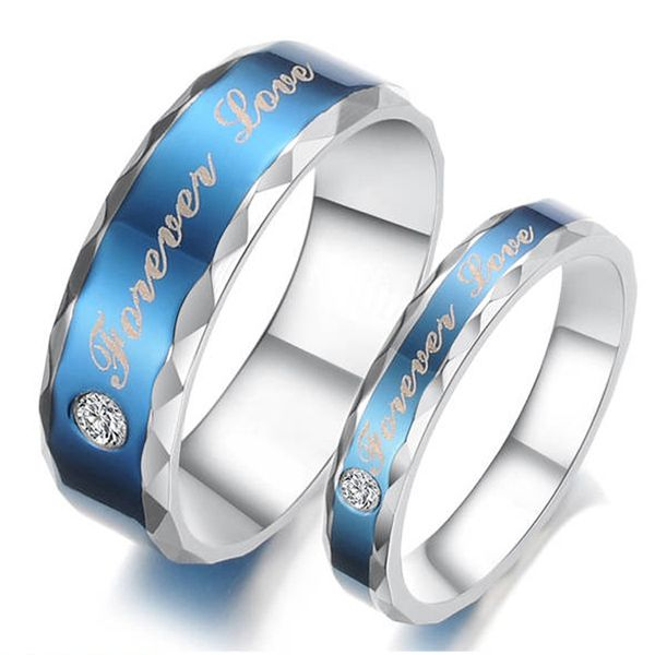 New Unique Fashion Blue Forever Love Theme Titanium Steel CZ Couple Ring Find This Pin And More On Wedding