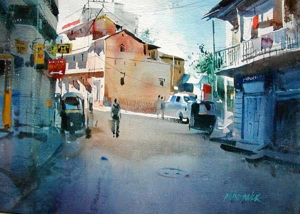 Towards Studio - Painting of an urban landscape, outside a ...