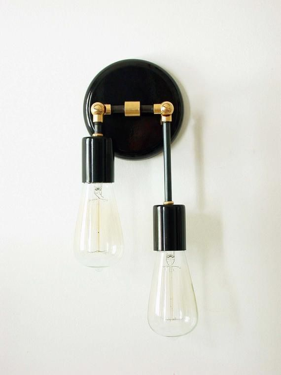 Double Wall Sconce Black Lamp Modern Wall Lighting Bedroom Etsy