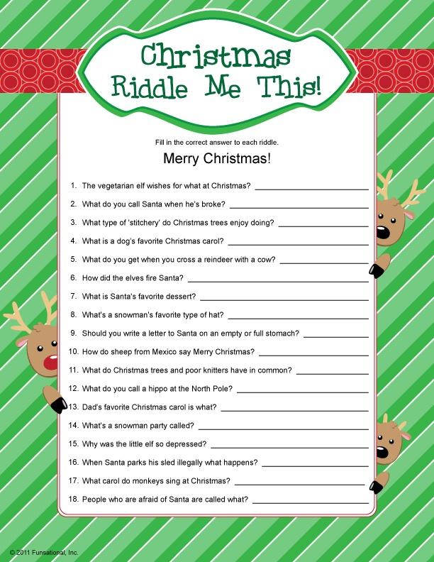 Christmas Riddle Me This! Christmas riddles, Christmas