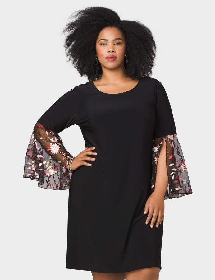 dressbarn Plus Size Embroidered-Sleeve Knit Dress | Products ...