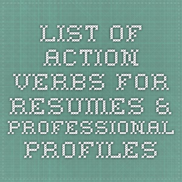 The 25+ best Professional profile resume ideas on Pinterest - resume verbs list
