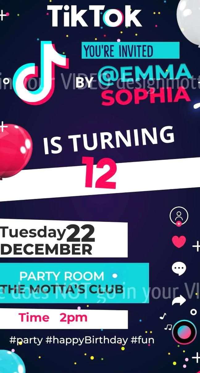 Ideal Invitation For Fans Of The Tiktok App Join The Challenge Of A Super Party And Celebrate Different Tiktok Kids Invitations Super Party Kids Birthday Party
