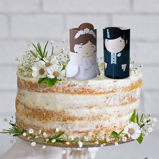 The toilet paper wedding cake toppers are too cute!