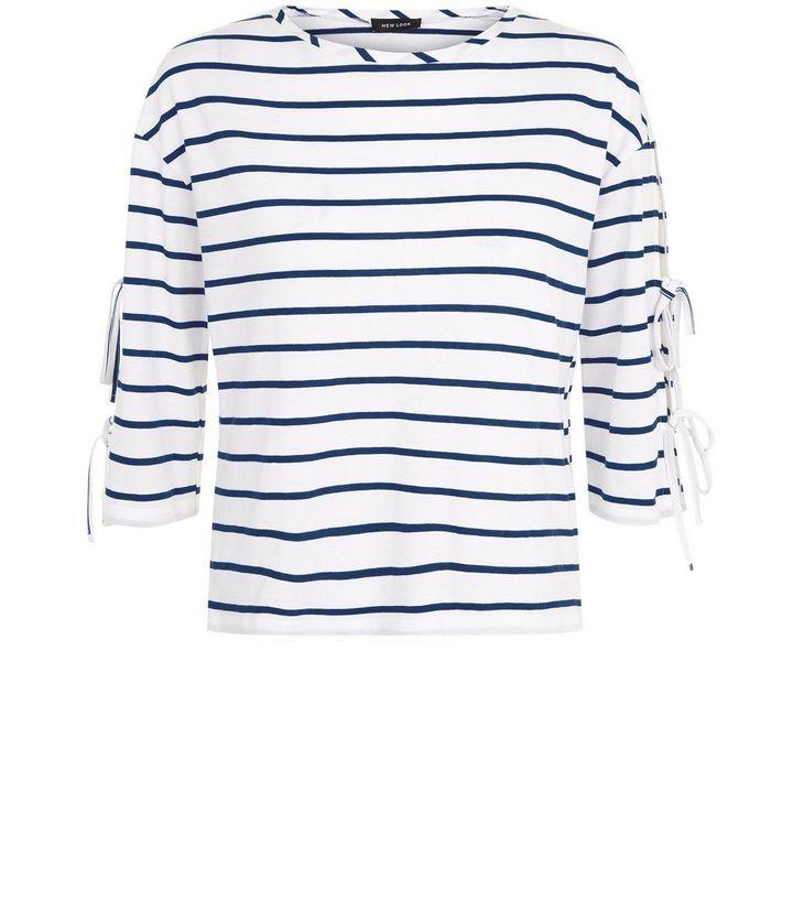 Weißes, gestreiftes T-Shirt mit gebundenen 3/4-Ärmeln | New Look