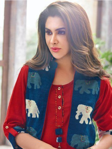 Retro Red & Blue Cotton Linen Kurti with Jacket