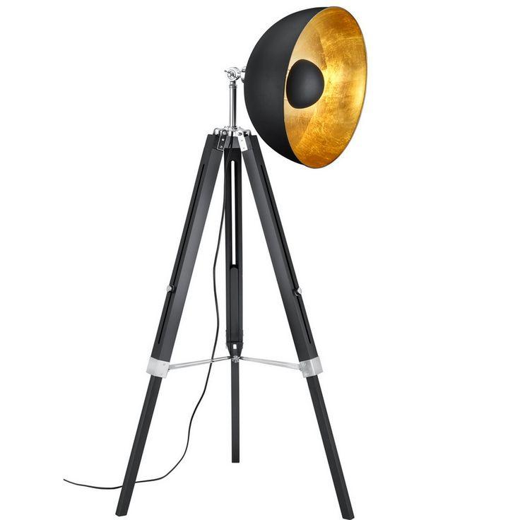 Lampadaire décoratif, bois et metal , eclairage indirect reflecteur noir et or