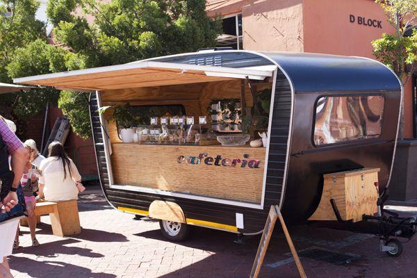 Cafeteria, Cape Town. Retro style caravan espresso trailer.