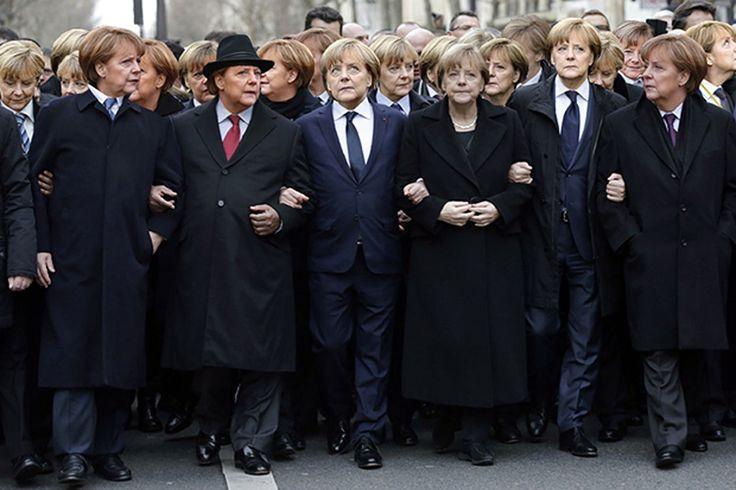 Eine ultraorthodoxe Zeitung hat aus dem Pariser Trauermarsch alle weiblichen Gäste wegretuschiert. Ein Magazin reagiert mit dem 'Marsch der Millionen Merkels'.
