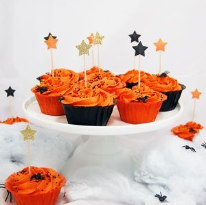 Set Of 12 Halloween Star Cupcake Toppers - Turn your happy home into a haunted mansion or spooky space with the help of our Halloween decorations. We can help you create a killer kitchen, doomed dining room and frightening foyer. Fill your home with orange and black decorations and really embrace the spookiest party of the year.
